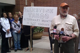 Dale Lehmann, Neighbors for Peace, at their press conference Aug. 5, 2014